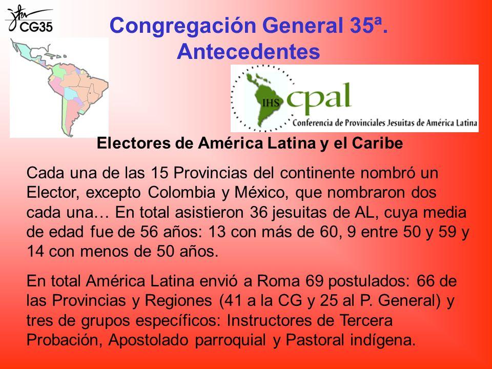 Congregación General 35ª. Antecedentes Electores de América Latina y el Caribe Cada una de las 15 Provincias del continente nombró un Elector, excepto