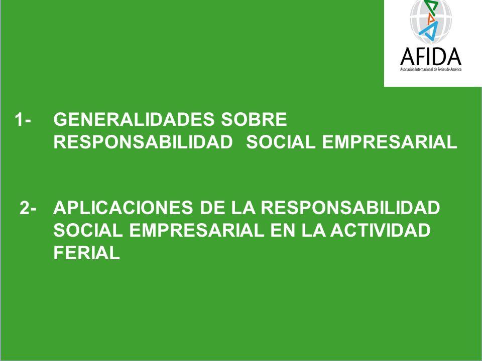 1- GENERALIDADES SOBRE RESPONSABILIDAD SOCIAL EMPRESARIAL 2- APLICACIONES DE LA RESPONSABILIDAD SOCIAL EMPRESARIAL EN LA ACTIVIDAD FERIAL