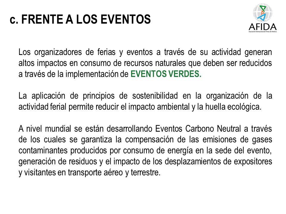 c. FRENTE A LOS EVENTOS Los organizadores de ferias y eventos a través de su actividad generan altos impactos en consumo de recursos naturales que deb
