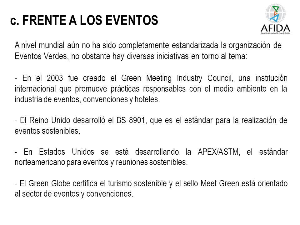 c. FRENTE A LOS EVENTOS A nivel mundial aún no ha sido completamente estandarizada la organización de Eventos Verdes, no obstante hay diversas iniciat