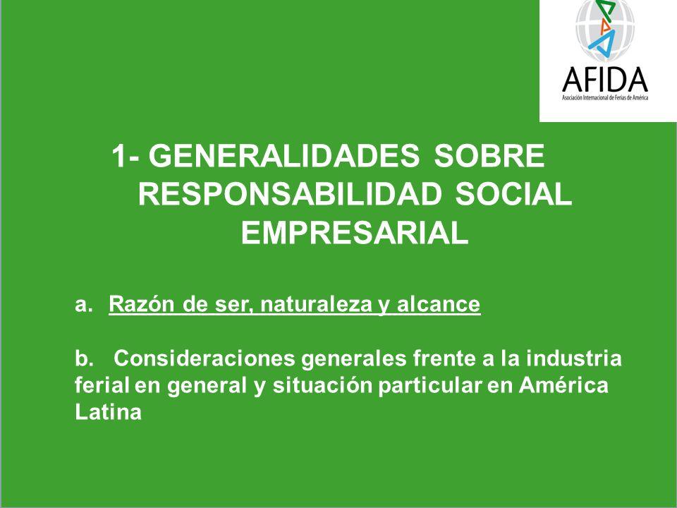 1- GENERALIDADES SOBRE RESPONSABILIDAD SOCIAL EMPRESARIAL a.Razón de ser, naturaleza y alcance b.