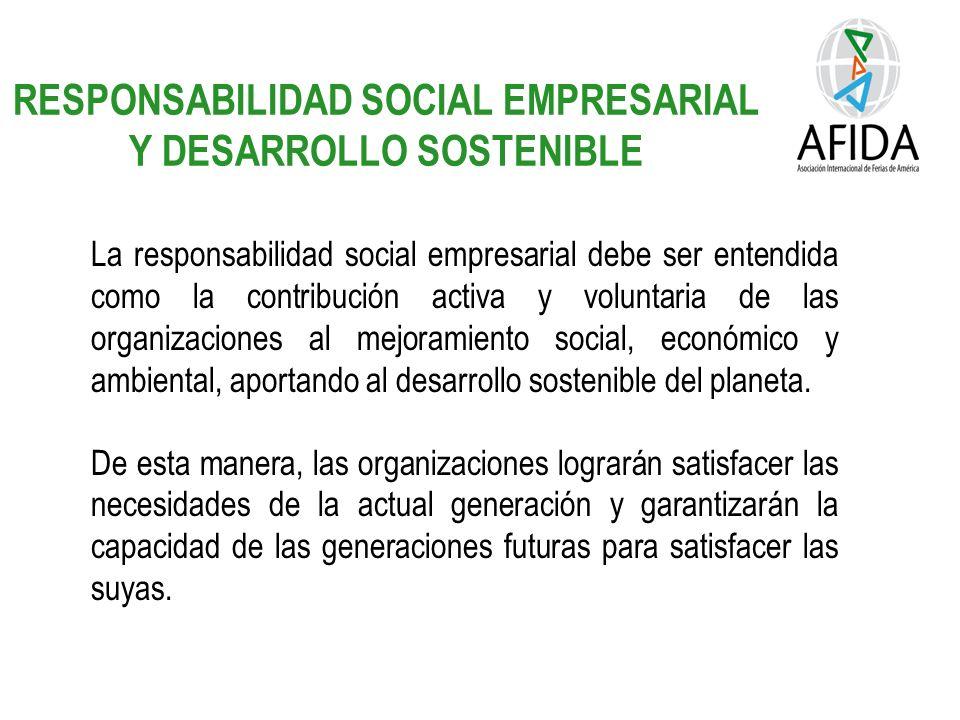 RESPONSABILIDAD SOCIAL EMPRESARIAL Y DESARROLLO SOSTENIBLE La responsabilidad social empresarial debe ser entendida como la contribución activa y voluntaria de las organizaciones al mejoramiento social, económico y ambiental, aportando al desarrollo sostenible del planeta.