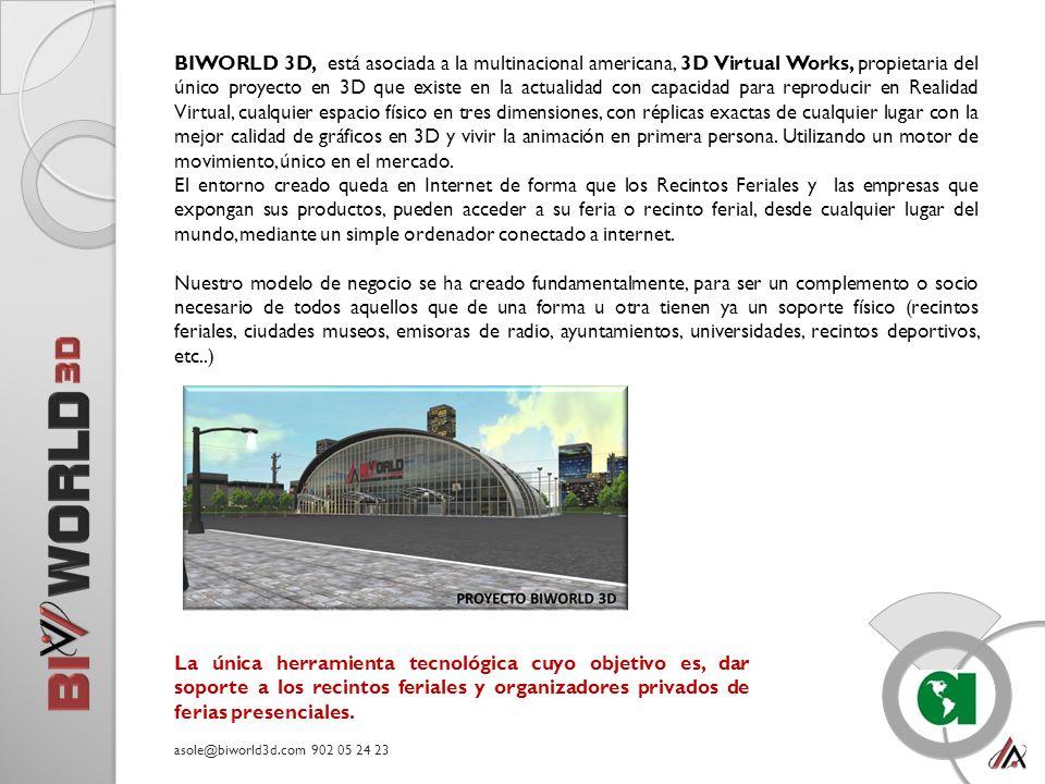 BIWORLD 3D, está asociada a la multinacional americana, 3D Virtual Works, propietaria del único proyecto en 3D que existe en la actualidad con capacidad para reproducir en Realidad Virtual, cualquier espacio físico en tres dimensiones, con réplicas exactas de cualquier lugar con la mejor calidad de gráficos en 3D y vivir la animación en primera persona.
