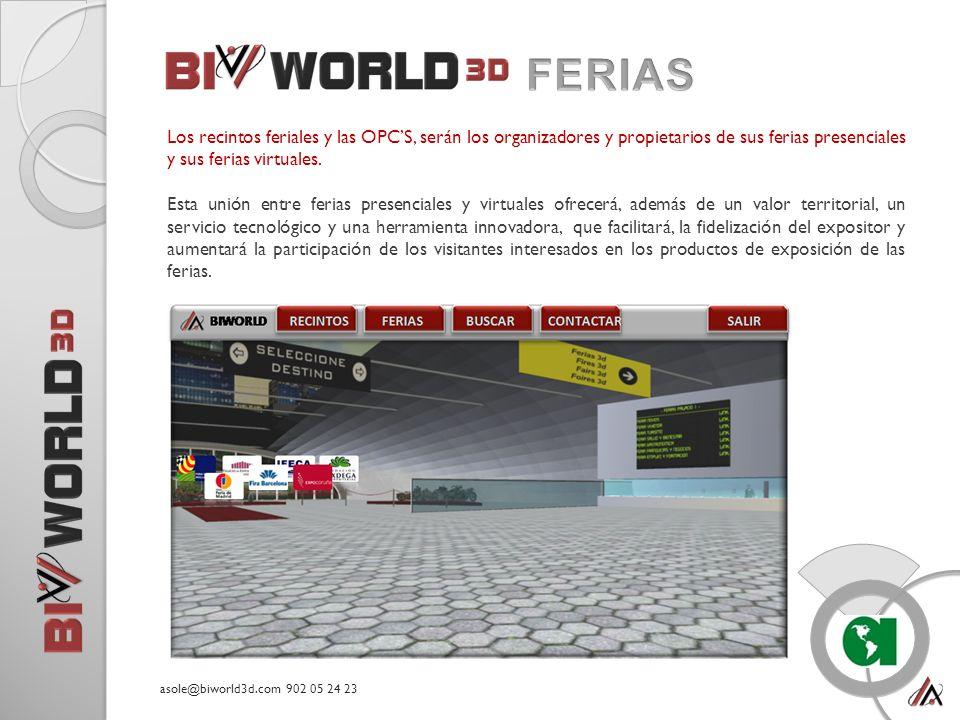 Los recintos feriales y las OPCS, serán los organizadores y propietarios de sus ferias presenciales y sus ferias virtuales.
