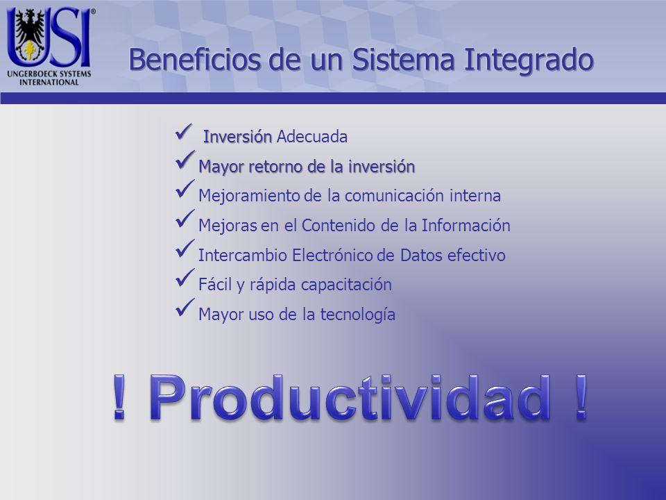 Inversión Inversión Adecuada Mayor retorno de la inversión Mayor retorno de la inversión Mejoramiento de la comunicación interna Mejoras en el Contenido de la Información Intercambio Electrónico de Datos efectivo Fácil y rápida capacitación Mayor uso de la tecnología