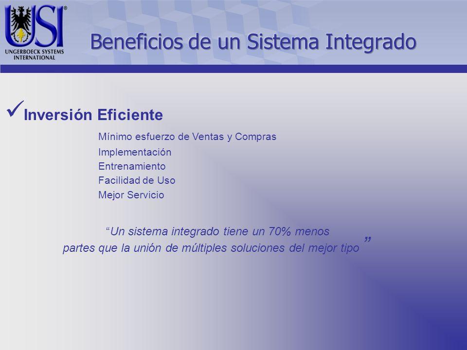 Inversión Eficiente Mínimo esfuerzo de Ventas y Compras Implementación Entrenamiento Facilidad de Uso Mejor Servicio Un sistema integrado tiene un 70% menos partes que la unión de múltiples soluciones del mejor tipo
