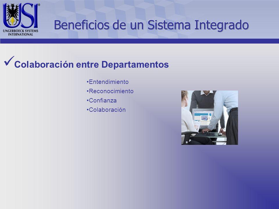 Colaboración entre Departamentos Entendimiento Reconocimiento Confianza Colaboración