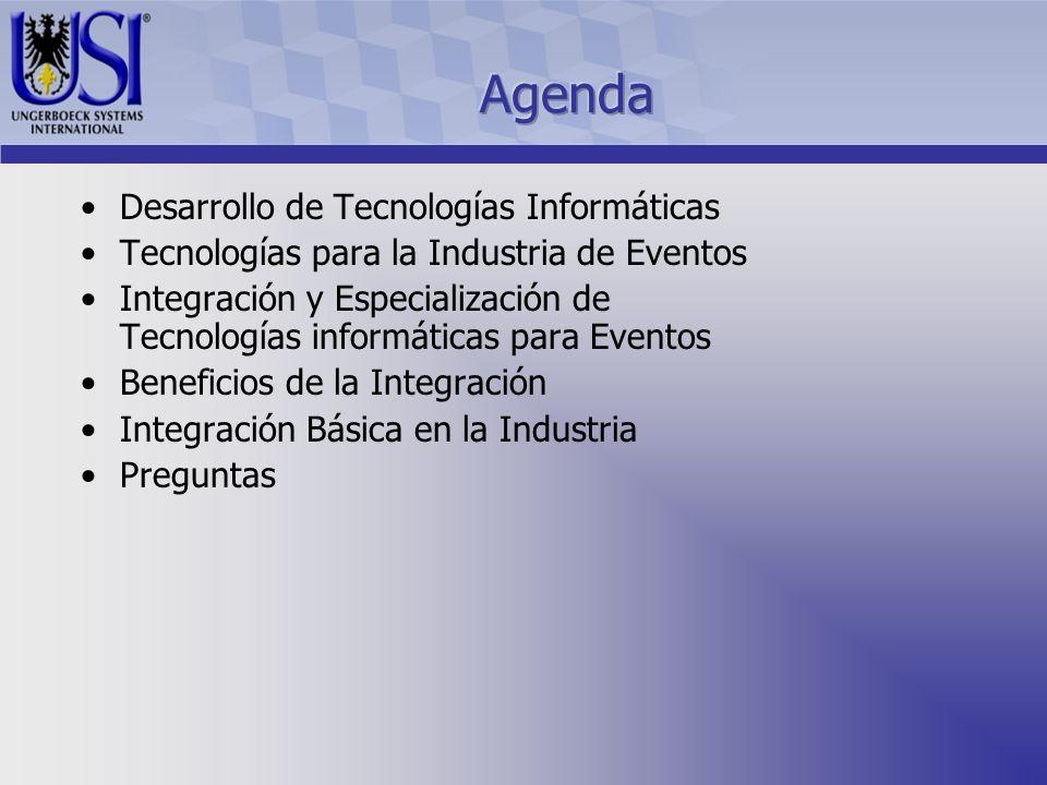 Desarrollo de Tecnologías Informáticas Tecnologías para la Industria de Eventos Integración y Especialización de Tecnologías informáticas para Eventos Beneficios de la Integración Integración Básica en la Industria Preguntas