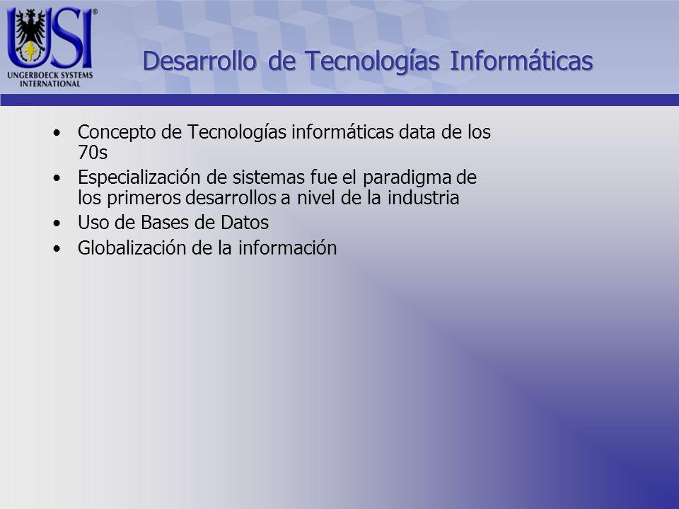 Concepto de Tecnologías informáticas data de los 70s Especialización de sistemas fue el paradigma de los primeros desarrollos a nivel de la industria Uso de Bases de Datos Globalización de la información