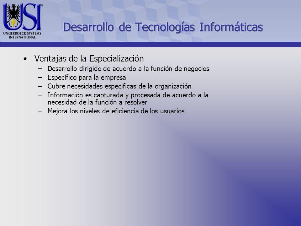Ventajas de la Especialización –Desarrollo dirigido de acuerdo a la función de negocios –Específico para la empresa –Cubre necesidades especificas de la organización –Información es capturada y procesada de acuerdo a la necesidad de la función a resolver –Mejora los niveles de eficiencia de los usuarios
