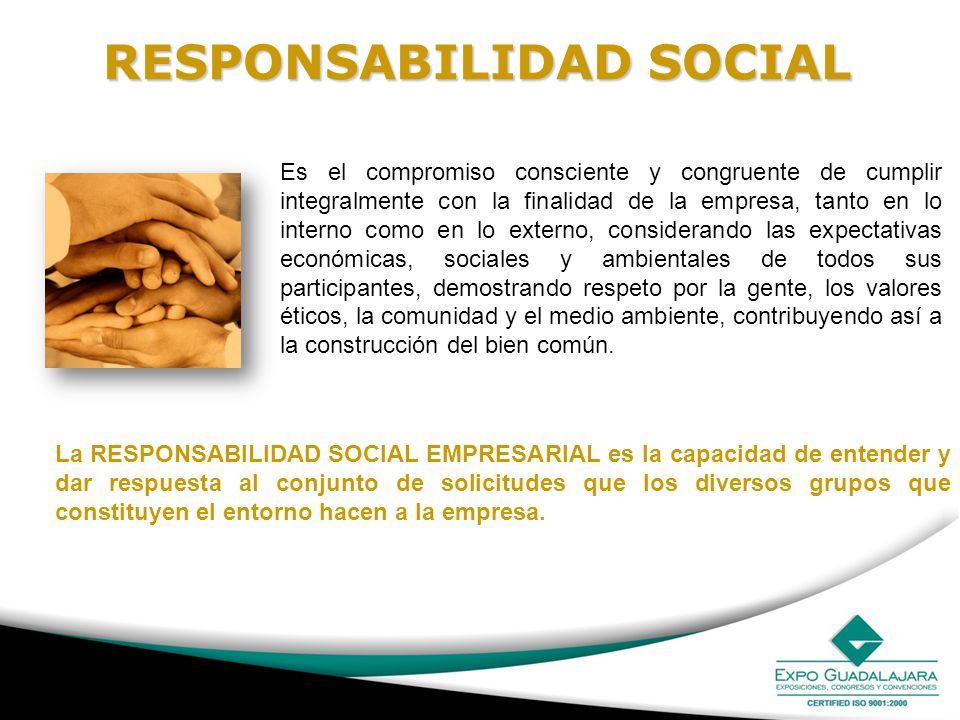 RESPONSABILIDAD SOCIAL Es el compromiso consciente y congruente de cumplir integralmente con la finalidad de la empresa, tanto en lo interno como en l