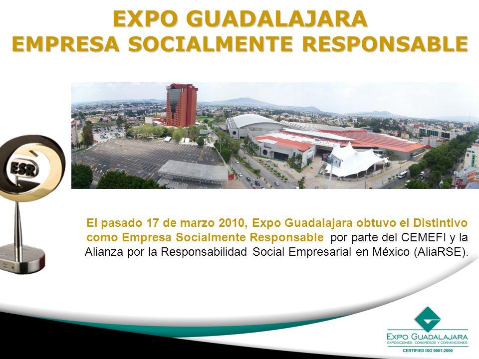EXPO GUADALAJARA EMPRESA SOCIALMENTE RESPONSABLE El pasado 17 de marzo 2010, Expo Guadalajara obtuvo el Distintivo como Empresa Socialmente Responsabl