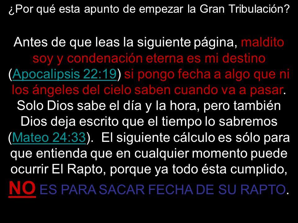 Antes de que leas la siguiente página, maldito soy y condenación eterna es mi destino (Apocalipsis 22:19) si pongo fecha a algo que ni los ángeles del
