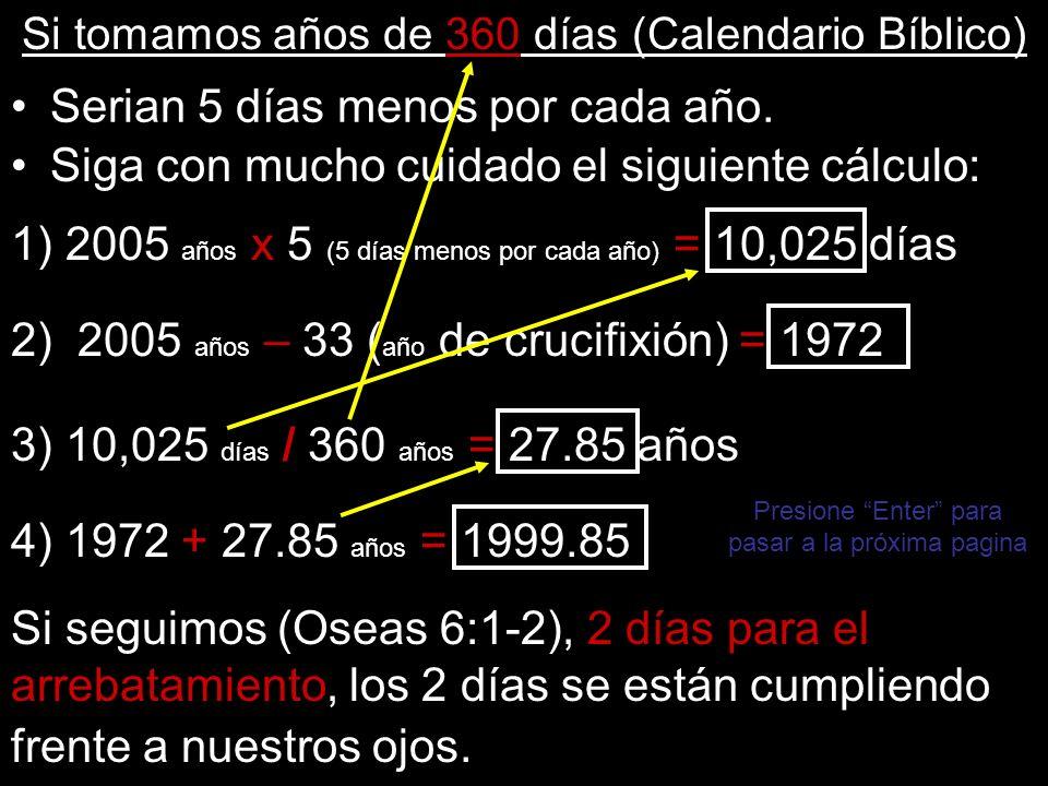 Si tomamos años de 360 días (Calendario Bíblico) Serian 5 días menos por cada año. Si seguimos (Oseas 6:1-2), 2 días para el arrebatamiento, los 2 día