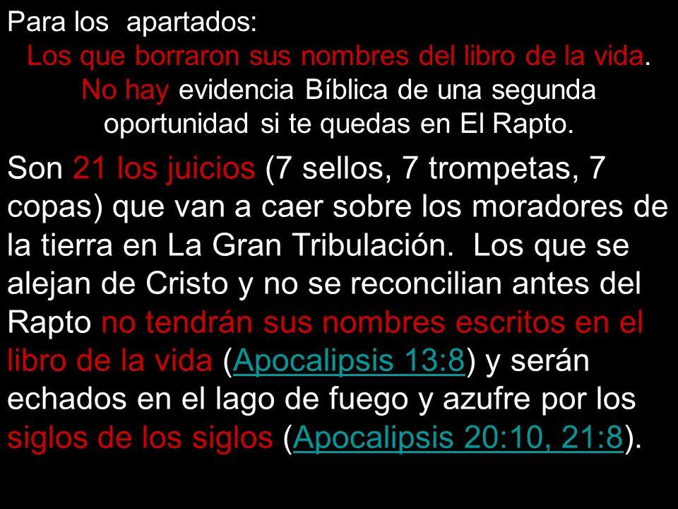 Son 21 los juicios (7 sellos, 7 trompetas, 7 copas) que van a caer sobre los moradores de la tierra en La Gran Tribulación. Los que se alejan de Crist
