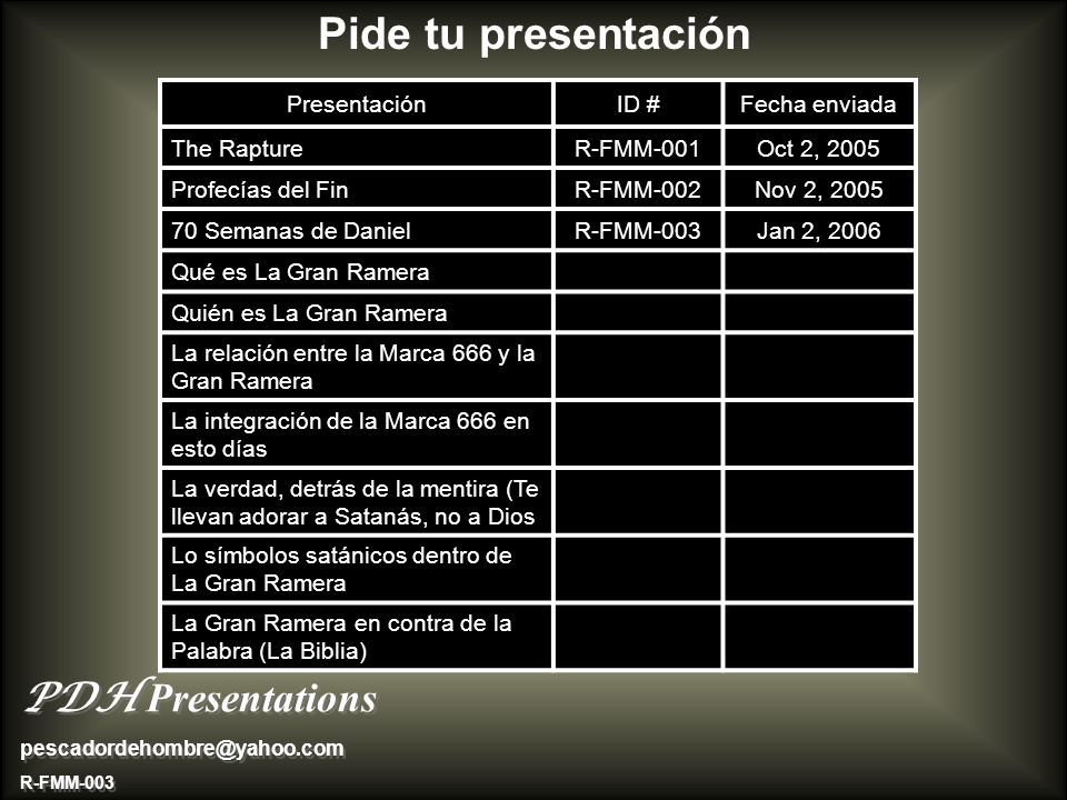 Pide tu presentación PresentaciónID #Fecha enviada The RaptureR-FMM-001Oct 2, 2005 Profecías del FinR-FMM-002Nov 2, 2005 70 Semanas de DanielR-FMM-003