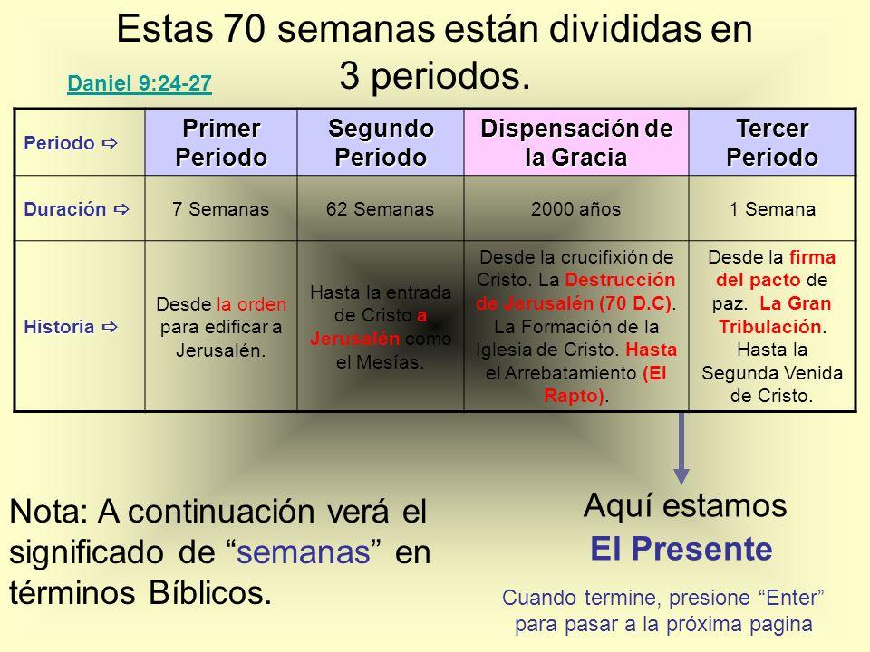 Estas 70 semanas están divididas en 3 periodos. Nota: A continuación verá el significado de semanas en términos Bíblicos. Periodo Periodo Primer Perio