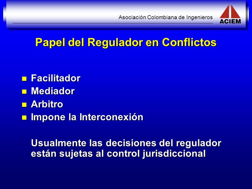 Asociación Colombiana de Ingenieros Papel del Regulador en Conflictos Facilitador Facilitador Mediador Mediador Arbitro Arbitro Impone la Interconexió