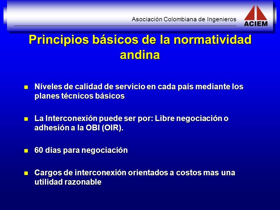 Asociación Colombiana de Ingenieros Principios básicos de la normatividad andina Níveles de calidad de servicio en cada país mediante los planes técni