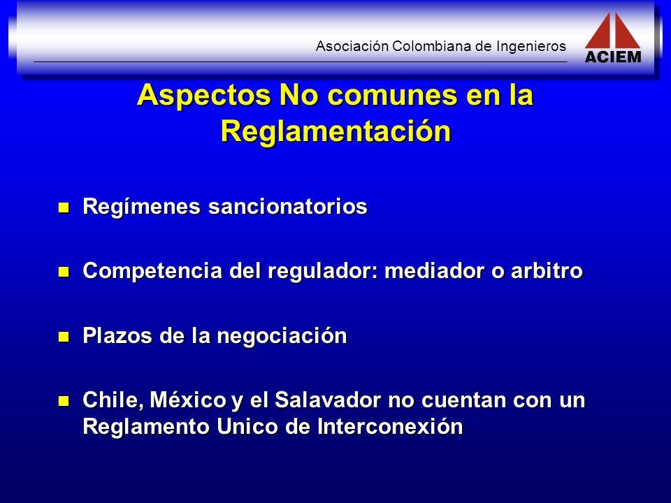 Asociación Colombiana de Ingenieros Aspectos No comunes en la Reglamentación Regímenes sancionatorios Regímenes sancionatorios Competencia del regulad