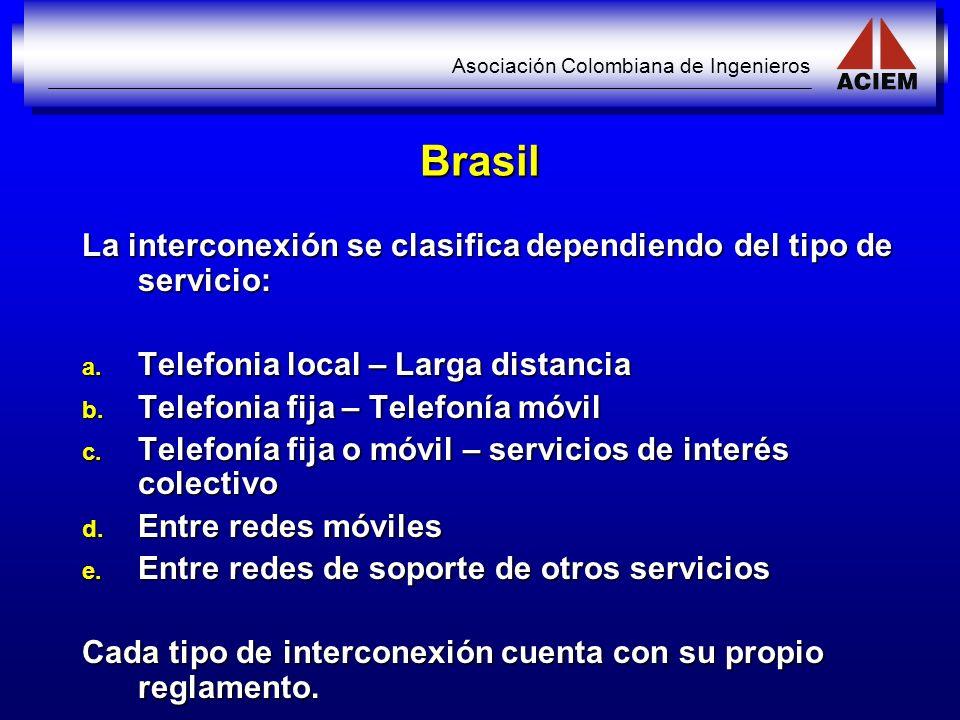 Asociación Colombiana de Ingenieros Brasil La interconexión se clasifica dependiendo del tipo de servicio: a. Telefonia local – Larga distancia b. Tel