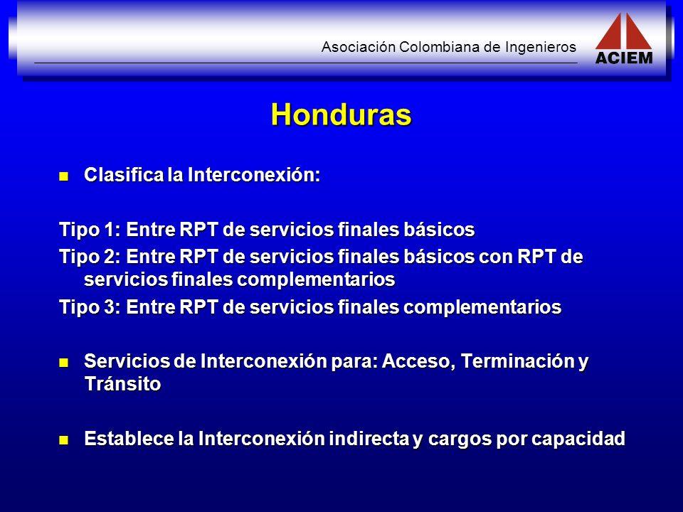 Asociación Colombiana de Ingenieros Honduras Clasifica la Interconexión: Clasifica la Interconexión: Tipo 1: Entre RPT de servicios finales básicos Ti