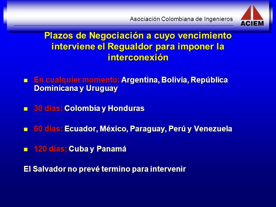 Asociación Colombiana de Ingenieros Plazos de Negociación a cuyo vencimiento interviene el Regualdor para imponer la interconexión En cualquier moment