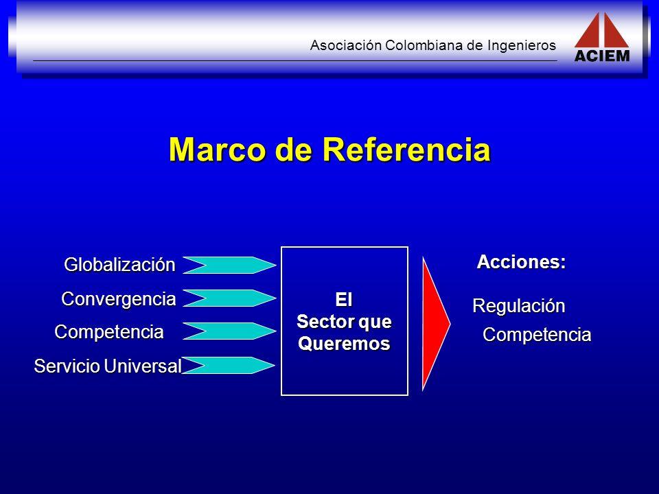 Asociación Colombiana de Ingenieros Marco de Referencia El Sector que Queremos Globalización Convergencia Competencia Servicio Universal Acciones: Reg