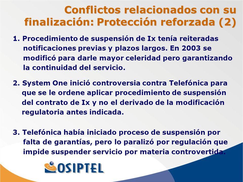 Conflictos relacionados con su finalización: Protección reforzada (2) 1.