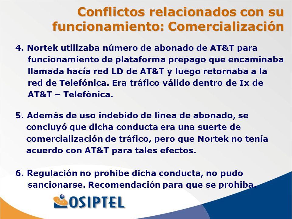 Conflictos relacionados con su funcionamiento: Comercialización 6.