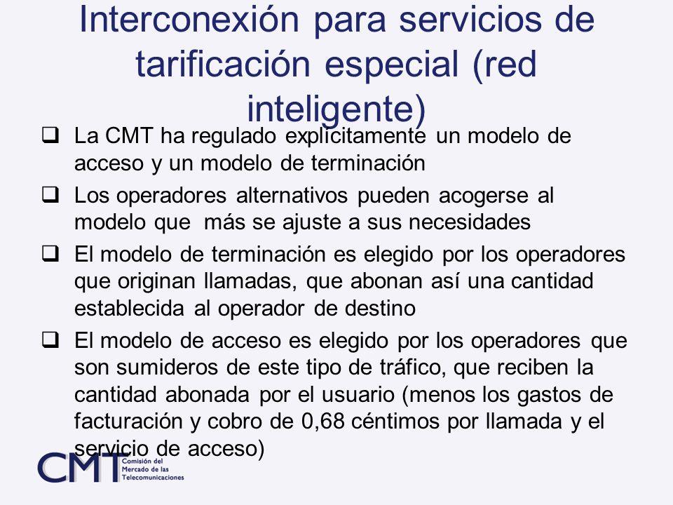 Interconexión para servicios de tarificación especial (red inteligente) La CMT ha regulado explícitamente un modelo de acceso y un modelo de terminaci