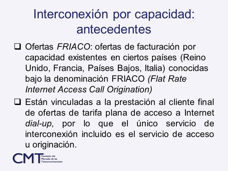 Interconexión por capacidad: antecedentes Ofertas FRIACO: ofertas de facturación por capacidad existentes en ciertos países (Reino Unido, Francia, Paí