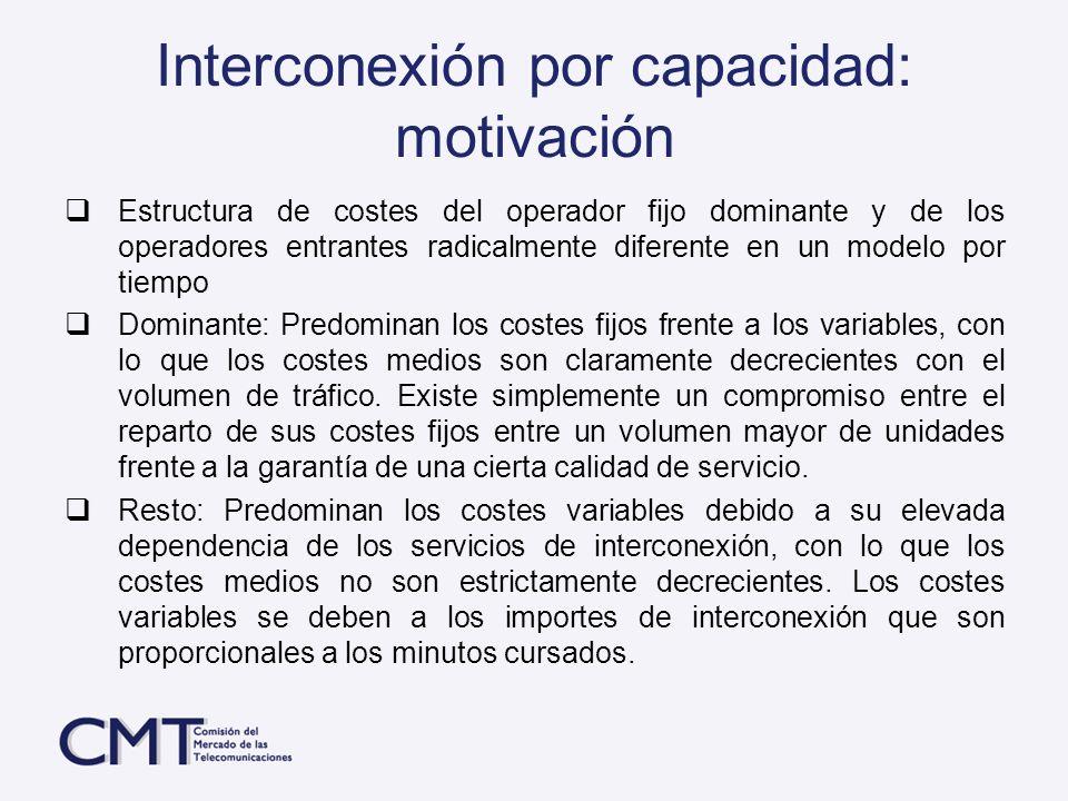 Interconexión por capacidad: motivación Estructura de costes del operador fijo dominante y de los operadores entrantes radicalmente diferente en un mo