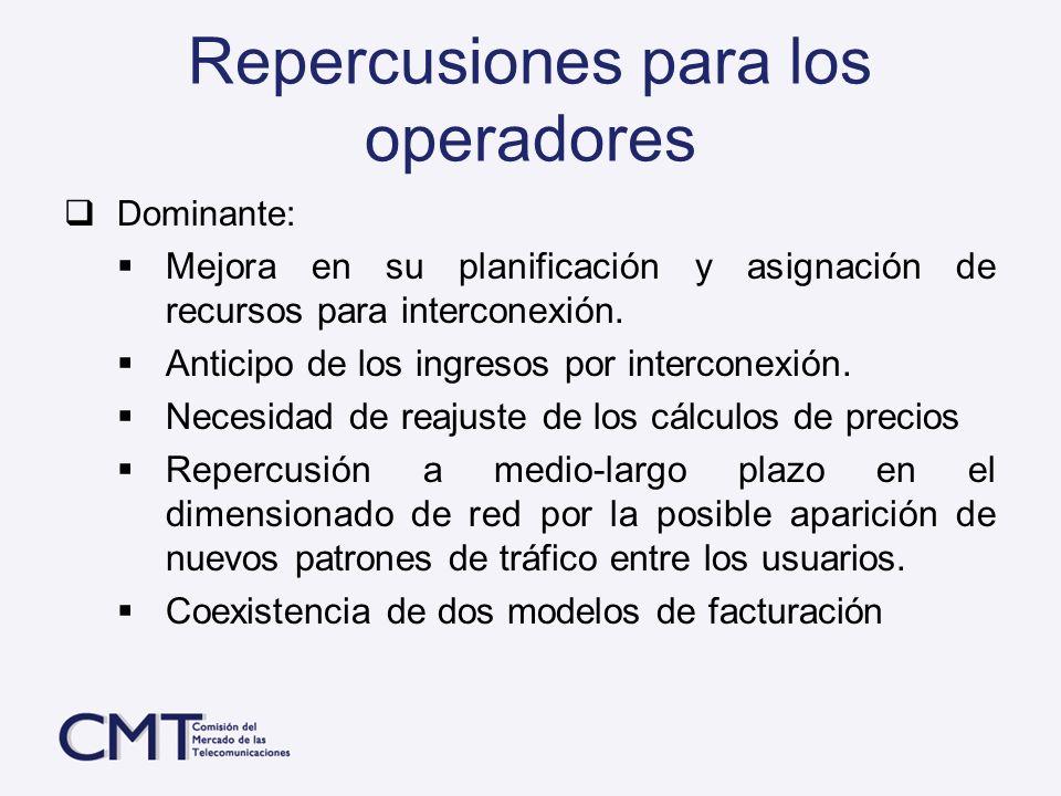 Repercusiones para los operadores Dominante: Mejora en su planificación y asignación de recursos para interconexión. Anticipo de los ingresos por inte