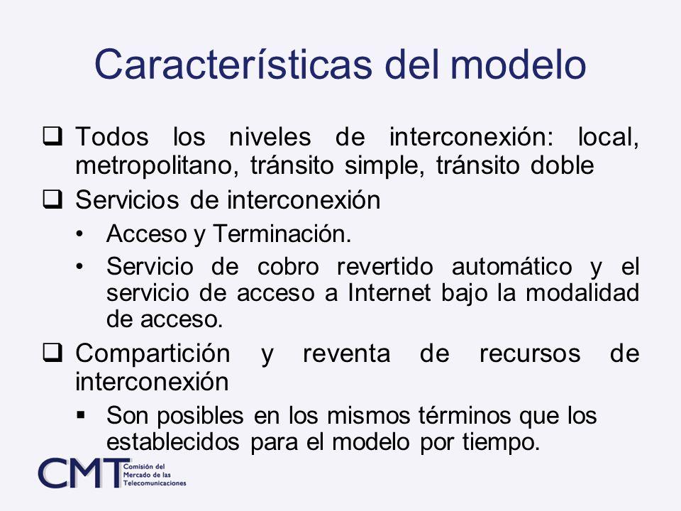 Características del modelo Todos los niveles de interconexión: local, metropolitano, tránsito simple, tránsito doble Servicios de interconexión Acceso