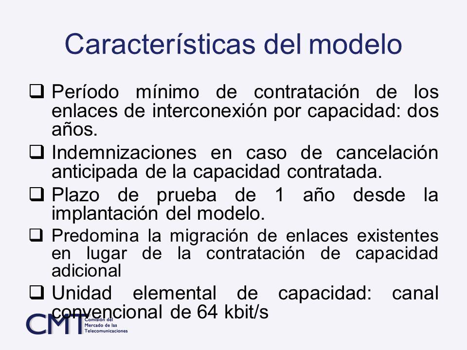 Características del modelo Período mínimo de contratación de los enlaces de interconexión por capacidad: dos años. Indemnizaciones en caso de cancelac