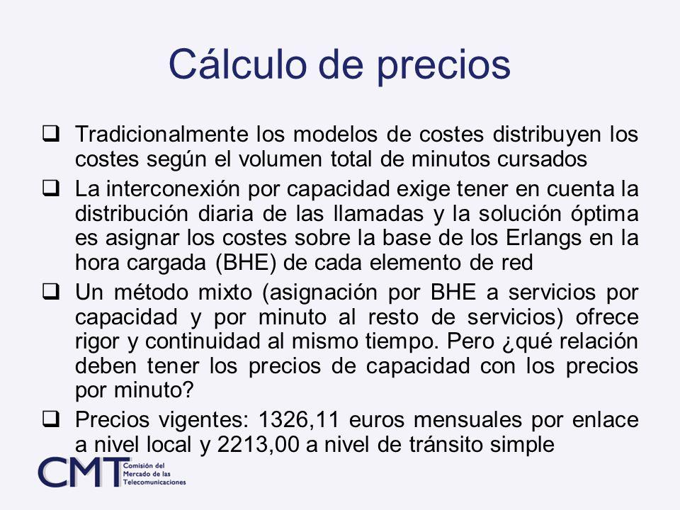 Cálculo de precios Tradicionalmente los modelos de costes distribuyen los costes según el volumen total de minutos cursados La interconexión por capac