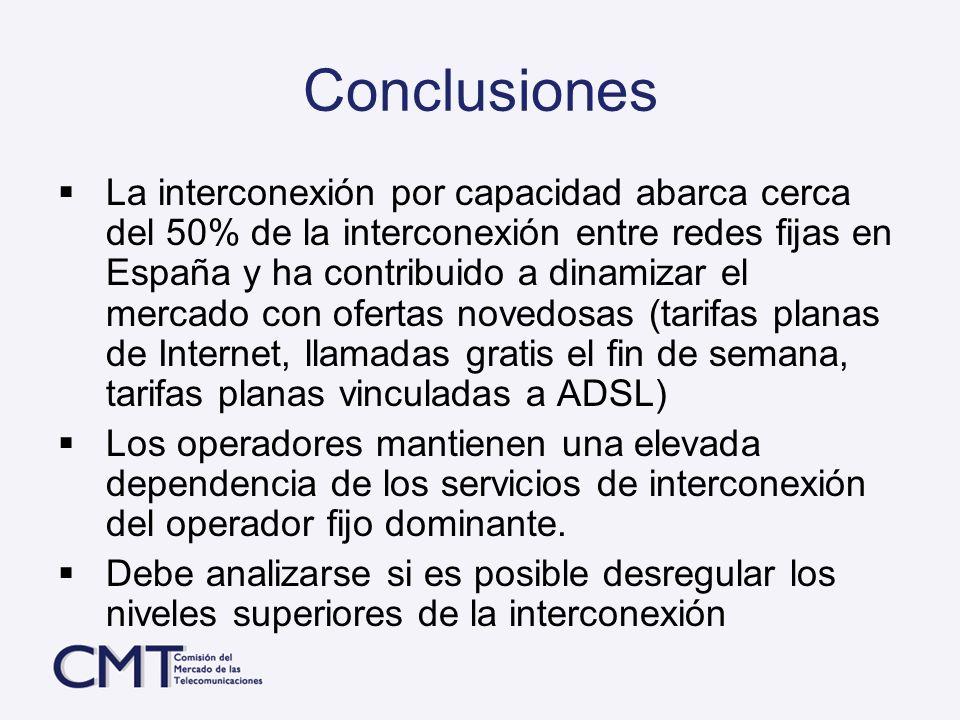 Conclusiones La interconexión por capacidad abarca cerca del 50% de la interconexión entre redes fijas en España y ha contribuido a dinamizar el merca