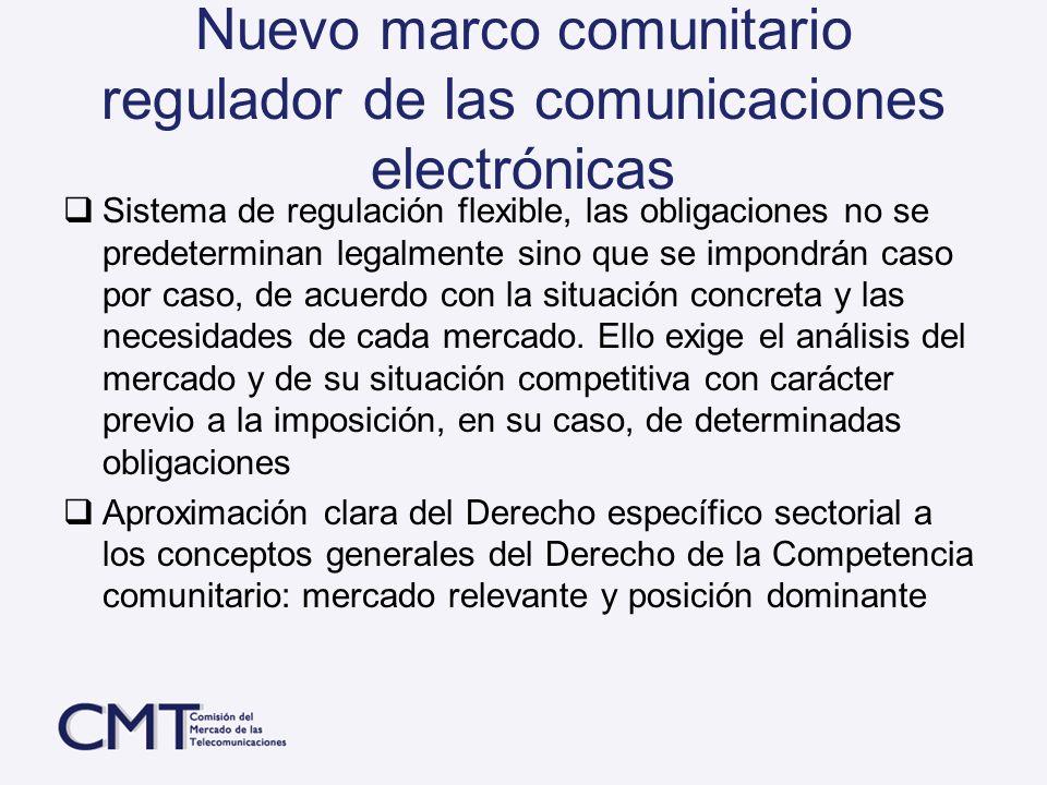 Nuevo marco comunitario regulador de las comunicaciones electrónicas Sistema de regulación flexible, las obligaciones no se predeterminan legalmente s