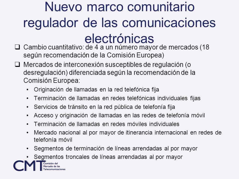 Nuevo marco comunitario regulador de las comunicaciones electrónicas Cambio cuantitativo: de 4 a un número mayor de mercados (18 según recomendación d