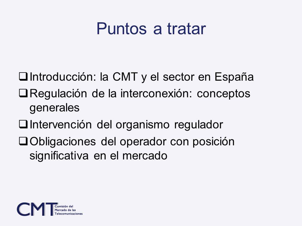 Puntos a tratar Introducción: la CMT y el sector en España Regulación de la interconexión: conceptos generales Intervención del organismo regulador Ob