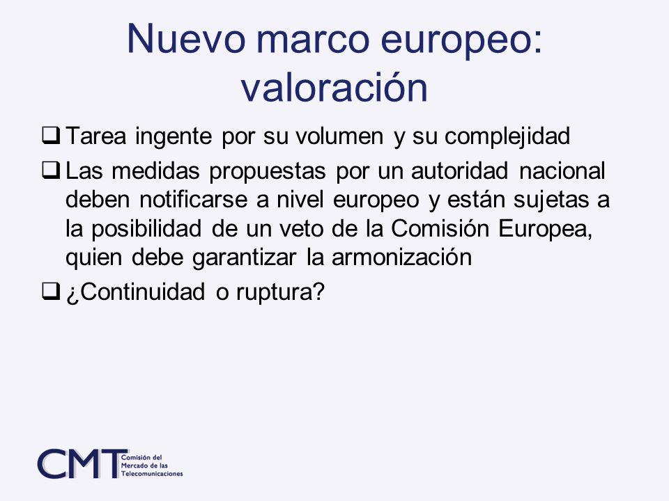 Nuevo marco europeo: valoración Tarea ingente por su volumen y su complejidad Las medidas propuestas por un autoridad nacional deben notificarse a niv