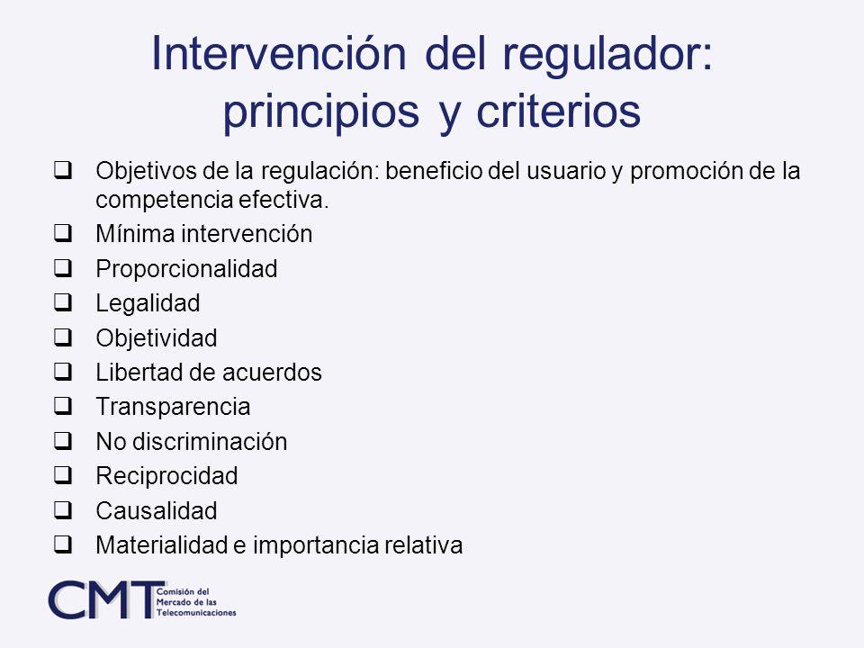 Intervención del regulador: principios y criterios Objetivos de la regulación: beneficio del usuario y promoción de la competencia efectiva. Mínima in