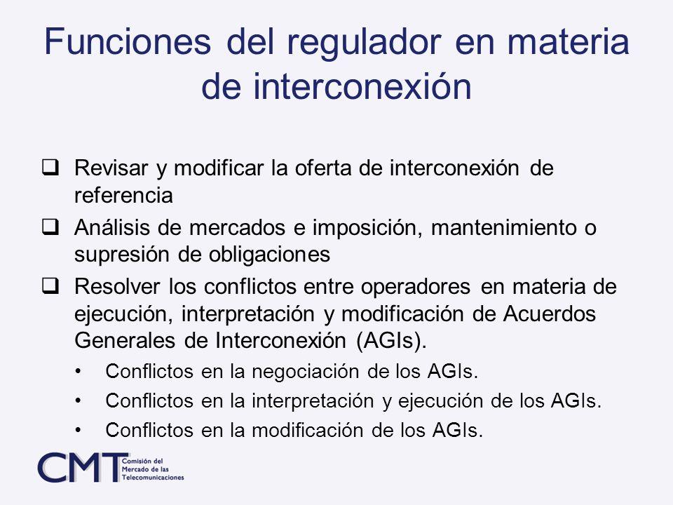 Funciones del regulador en materia de interconexión Revisar y modificar la oferta de interconexión de referencia Análisis de mercados e imposición, ma