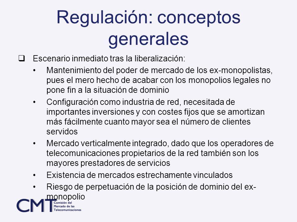 Regulación: conceptos generales Escenario inmediato tras la liberalización: Mantenimiento del poder de mercado de los ex-monopolistas, pues el mero he