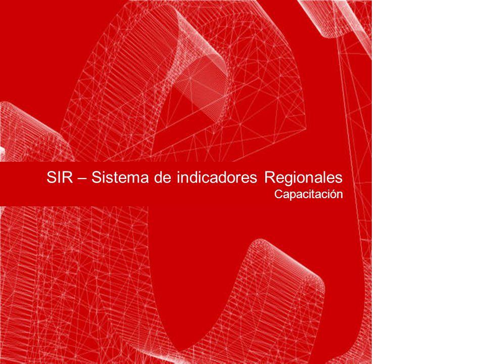 SIR – Sistema de indicadores Regionales Capacitación Carátula