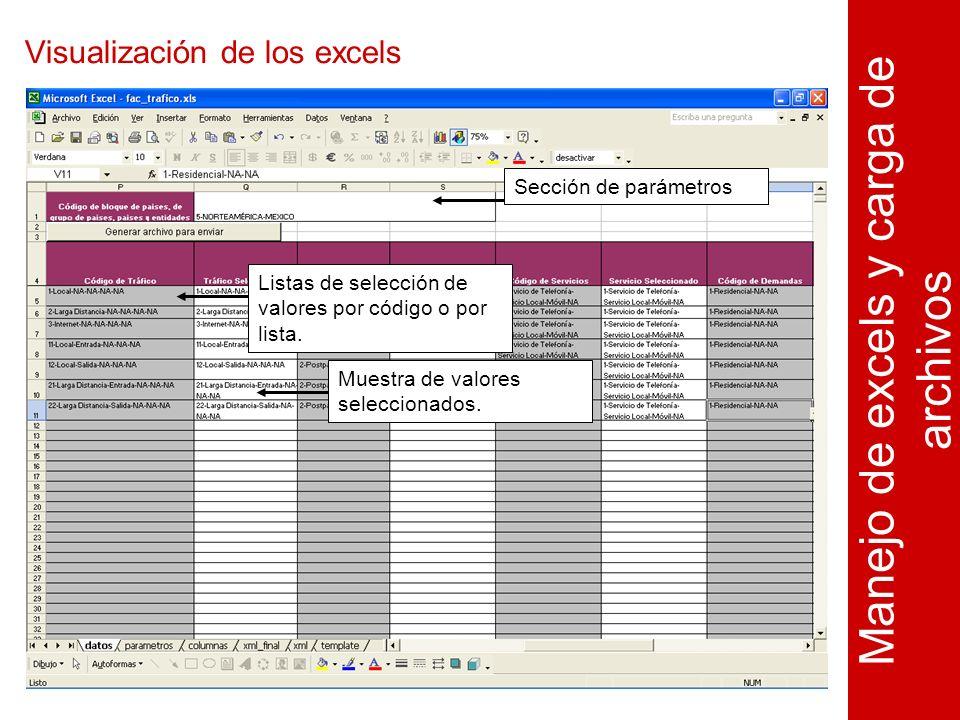 Visualización de los excels Manejo de excels y carga de archivos Sección de parámetrosListas de selección de valores por código o por lista.