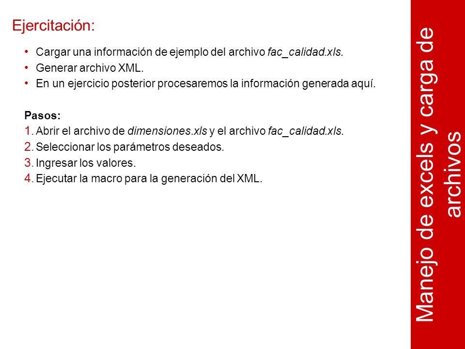 Ejercitación: Cargar una información de ejemplo del archivo fac_calidad.xls.