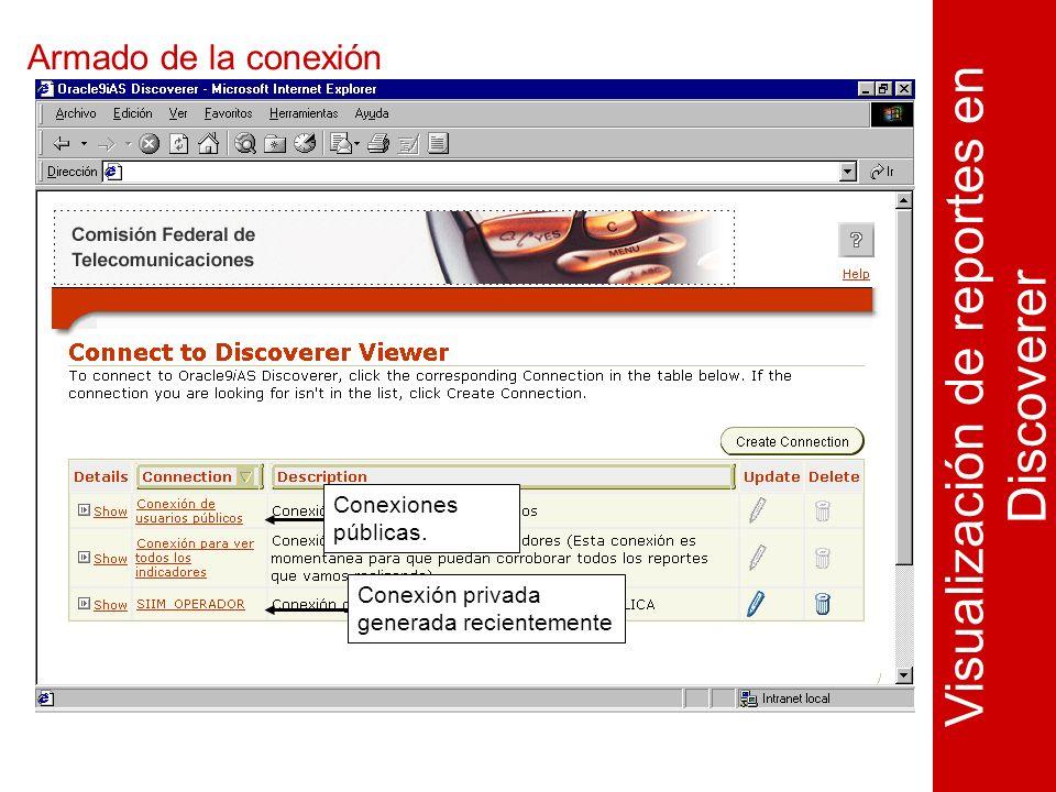 Armado de la conexión Visualización de reportes en Discoverer Conexiones públicas.