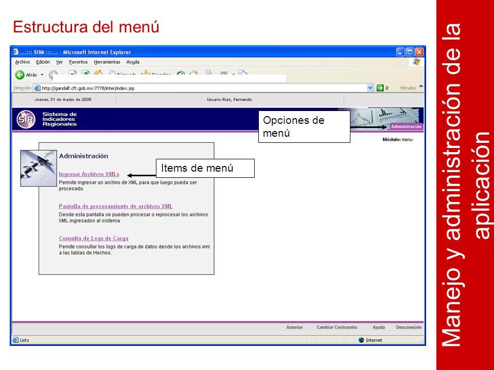 Estructura del menú Manejo y administración de la aplicación Opciones de menú Items de menú